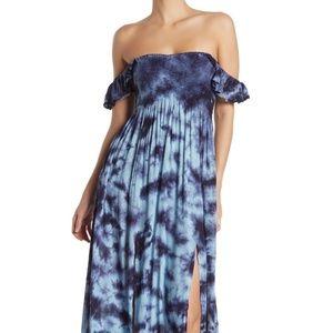 BOHO ME // tie dye off shoulder slit maxi dress